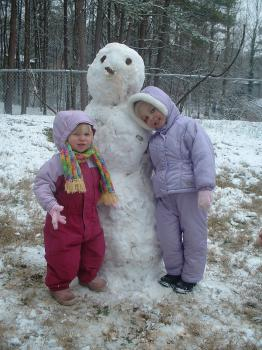 Girls with snowman1